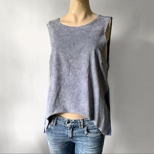 Faux Suede Front Loose Sleeveless Top NWT